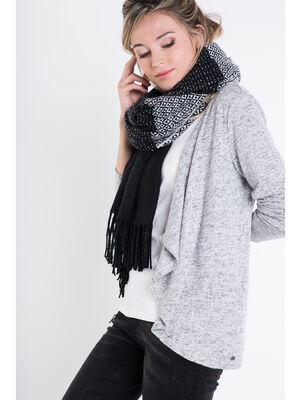 charpe plaid maille bicolore noir femme