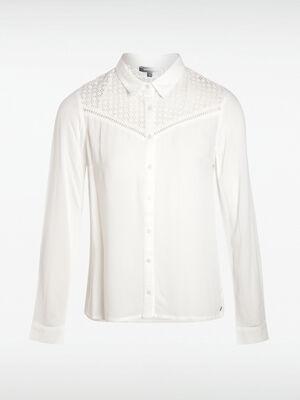 Chemise col francais dentelle blanc femme