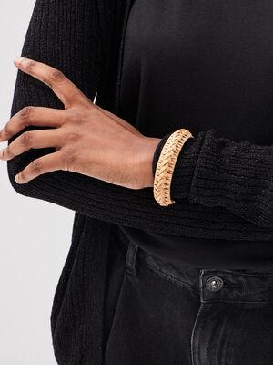 Bracelet manchette tresse beige femme