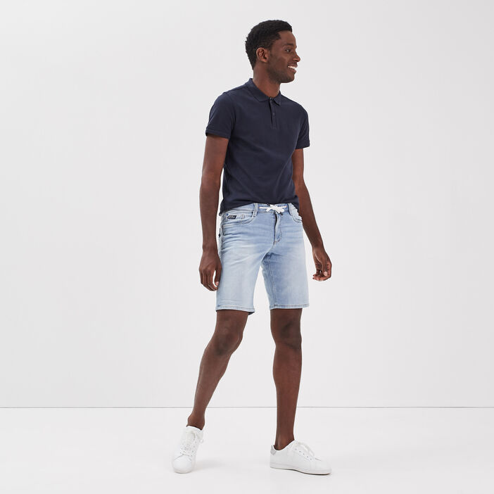 Bermuda éco-responsable denim bleach homme
