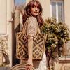 Sac porte epaule en jute beige femme