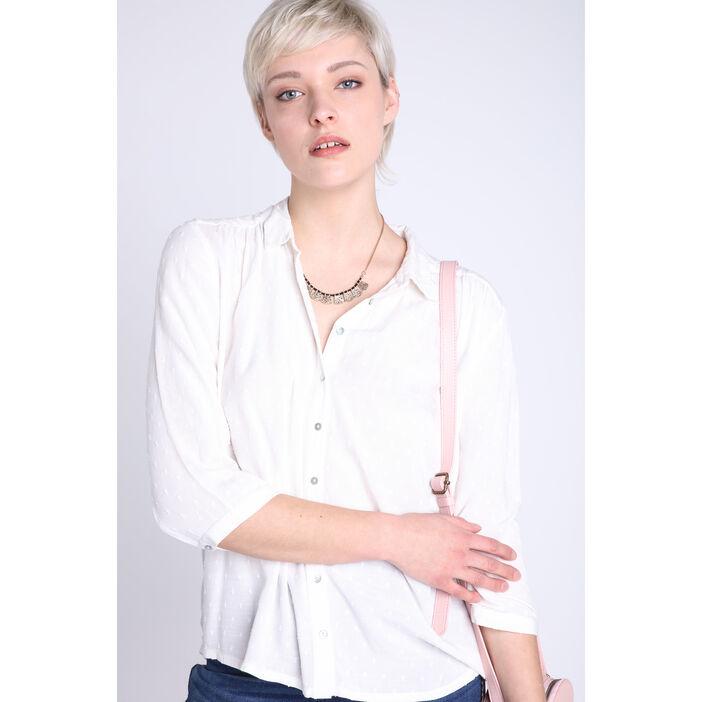 Chemise manches 3/4 blanc femme