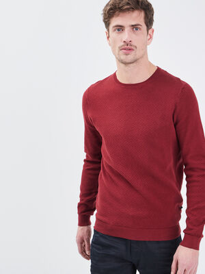 Pull manches longues rouge fonce homme