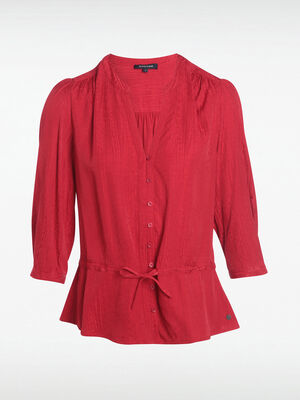 Blouse manches 34 a coulisse rouge clair femme