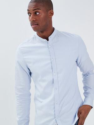 Chemise col mao bleu clair homme