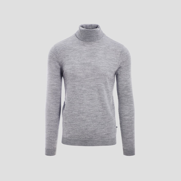 Pull col roulé 100% laine merinos gris foncé homme