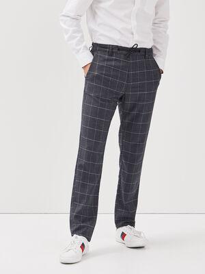 Pantalon chino cordon taille gris fonce homme