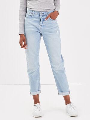 Jeans boyfriend destroy denim bleach femme