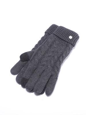 Gants tricotes a torsades gris fonce homme