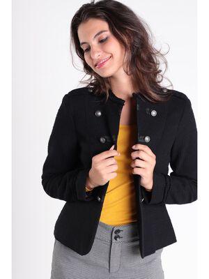 Veste cintree col montant noir femme