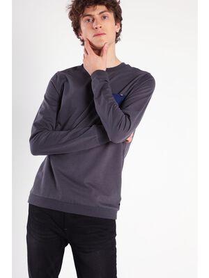 T shirt manches longues poche gris fonce homme