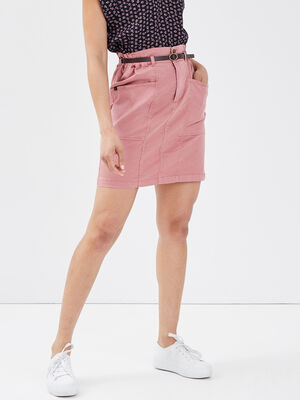 Jupe chino ceinturee rose femme