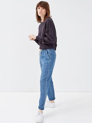 Jeans jogging denim stone femme