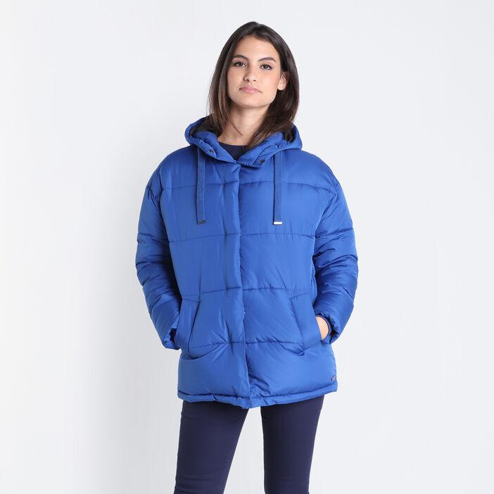 Doudoune droite à capuche bleu marine femme