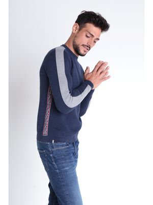 Pull manches longues a bandes bleu fonce homme