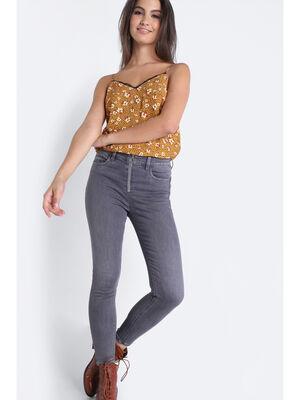 Jeans skinny zippe denim gris femme