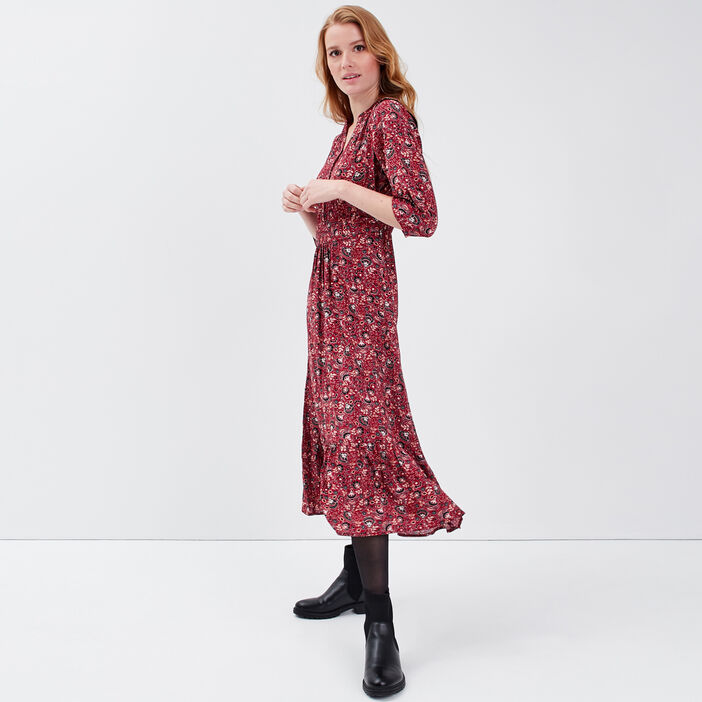Robe longue évasée manches 3/4 rouge foncé femme