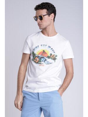 T shirt print blanc homme