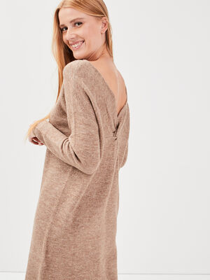 Robe pull droite dos ouvert taupe femme