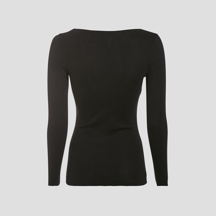 T-shirt maille unie Instinct noir femme
