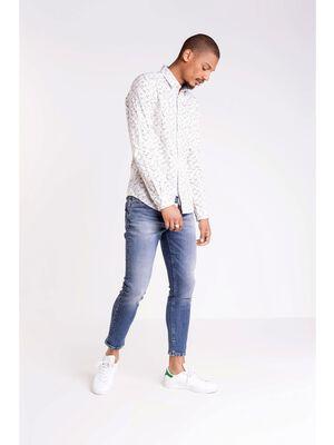 chemise col simple homme motif floral ecru