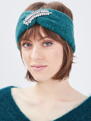 Bandeau avec detail bijoux vert emeraude femme