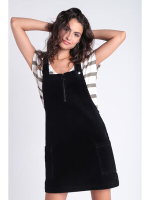 Robe salopette effet velours noir femme