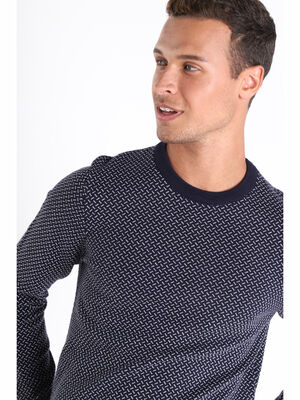 Pull manches longues col rond bleu fonce homme