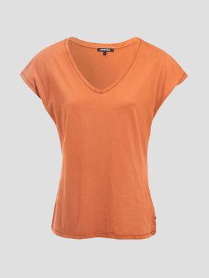T shirt manches courtes orange fonce femme