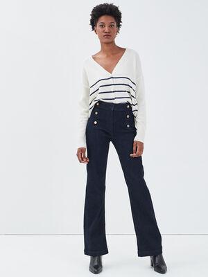 Jeans bootcut a pont denim brut femme