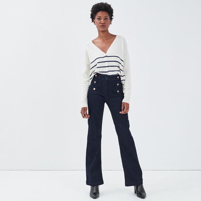 Jeans bootcut à pont denim brut femme