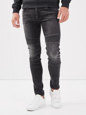 Jeans skinny details cuisses denim noir homme