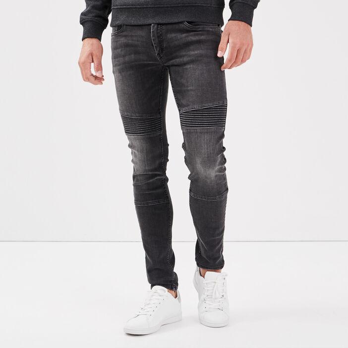 Jeans skinny détails cuisses denim noir homme