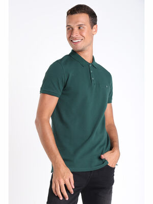 Polo manches courtes vert fonce homme