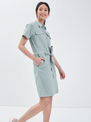 Robe droite ceinturee vert olive femme