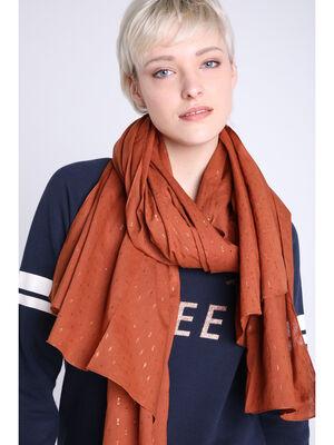 Foulard fin details metallises orange fonce femme