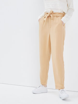Pantalon slouchy ceinture camel femme