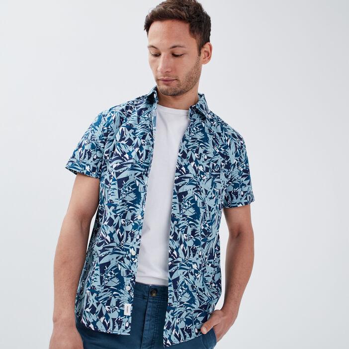 Chemise manches courtes bleu turquoise homme