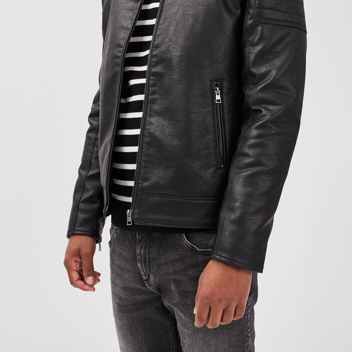 Veste droite zippée noir homme