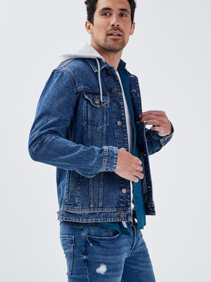 Veste droite en jean a capuche bleu gris homme