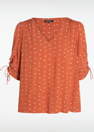 Blouse manches 34 froncees camel femme
