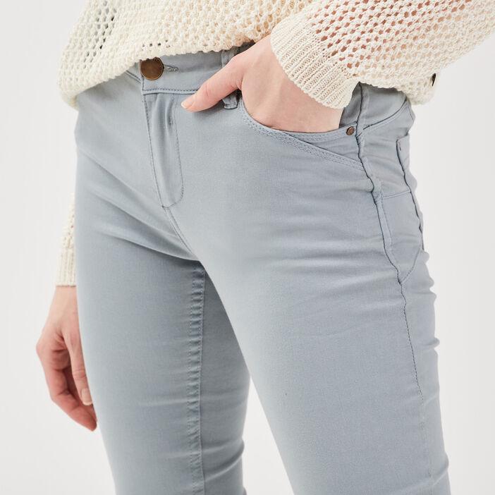 Pantalon skinny push up gris foncé femme