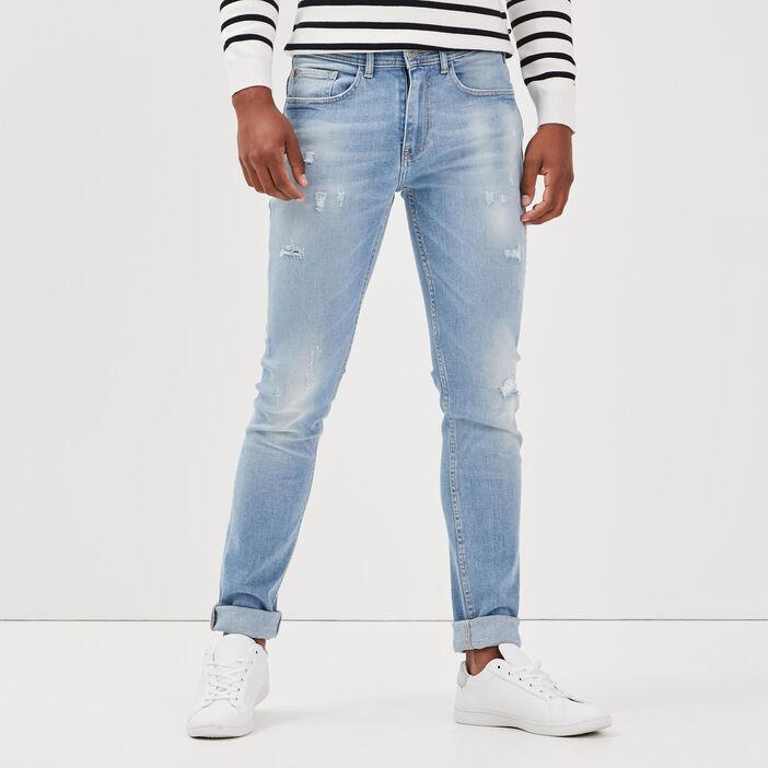 Jeans slim effet bleached denim bleach homme