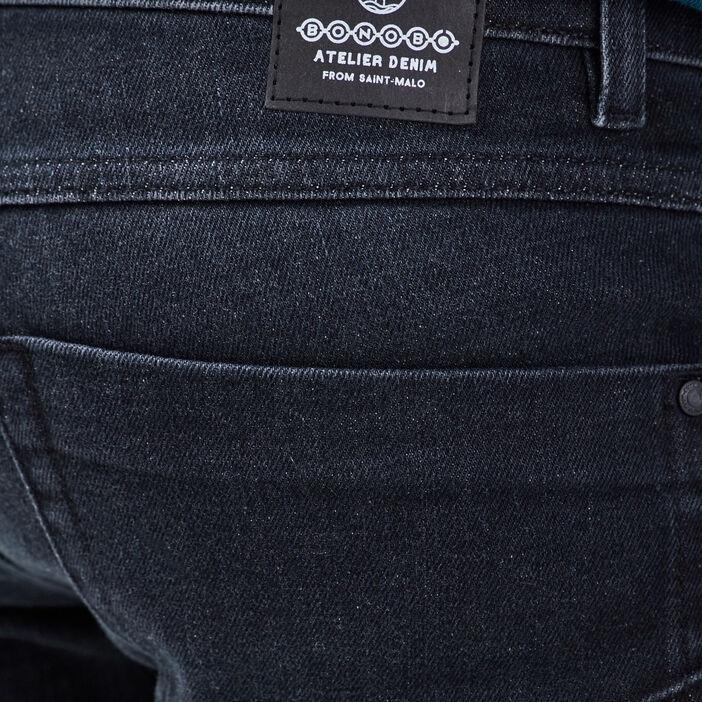 Jeans slim avec empiècements denim noir homme