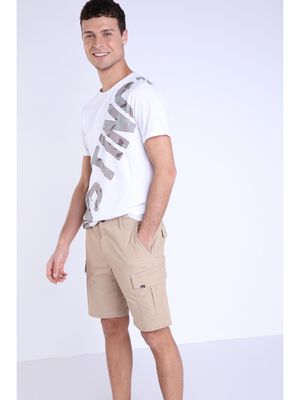 Bermuda droit taille standard beige homme