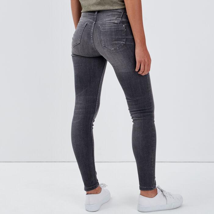 Jeans slim push up 7/8ème denim gris femme