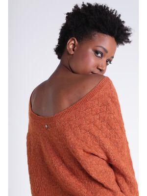 Pull ajoure orange fonce femme