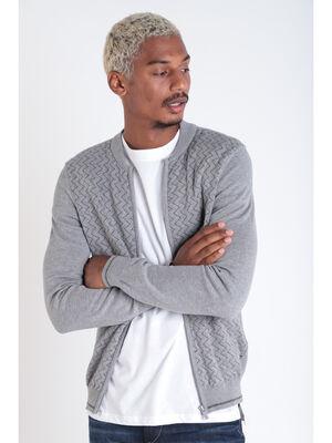 Veste teddy droite zippee gris fonce homme