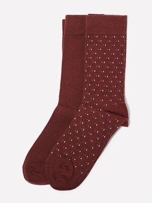 Lot 2 paires chaussettes bordeaux homme