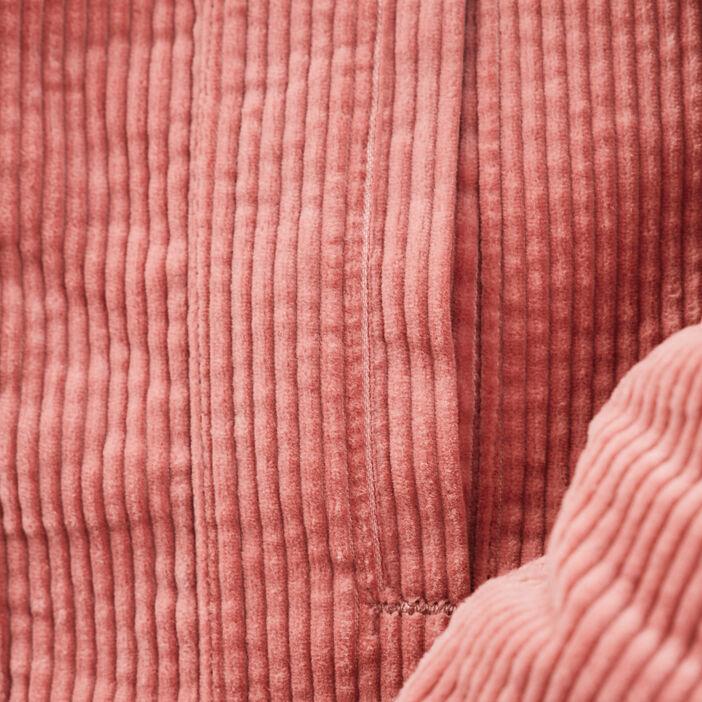 Veste droite velours côtelé vieux rose femme